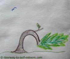 bendy tree pencil sketch, by www.doorway-to-self-esteem.com
