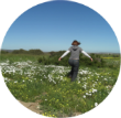 May in Namaqualand field of daisies, gratitude