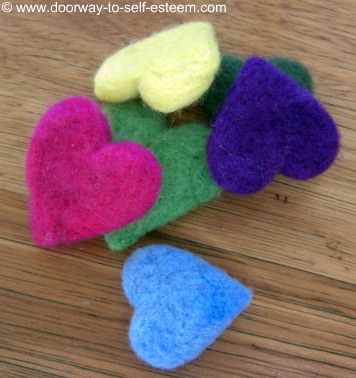 multi coloured felt hearts