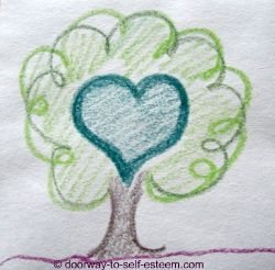 green heart tree pencil sketch, by www.doorway-to-self-esteem.com