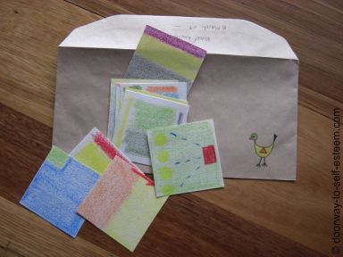mood mural coloured squares and envelope, from www.doorway-to-self-esteem.com