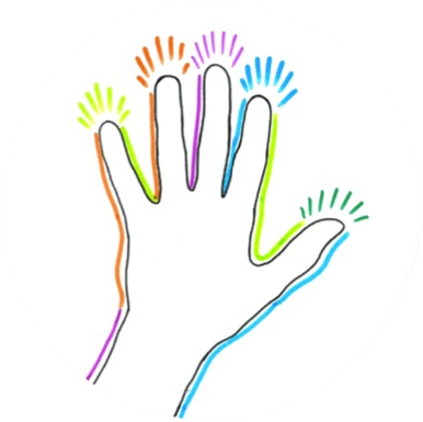 colourful hand, sense of touch, image from www.doorway-to-self-esteem.com